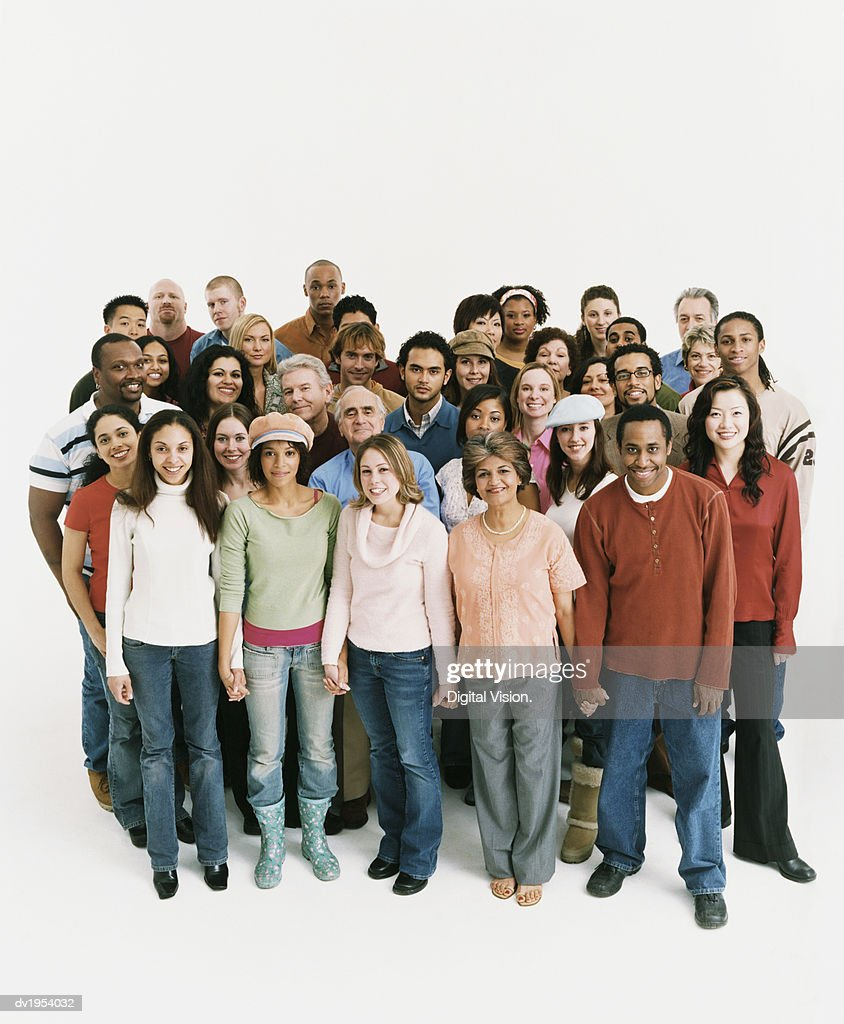 Studio Shot of a Mixed Age, Multiethnic Group of Men and Women : Stock Photo