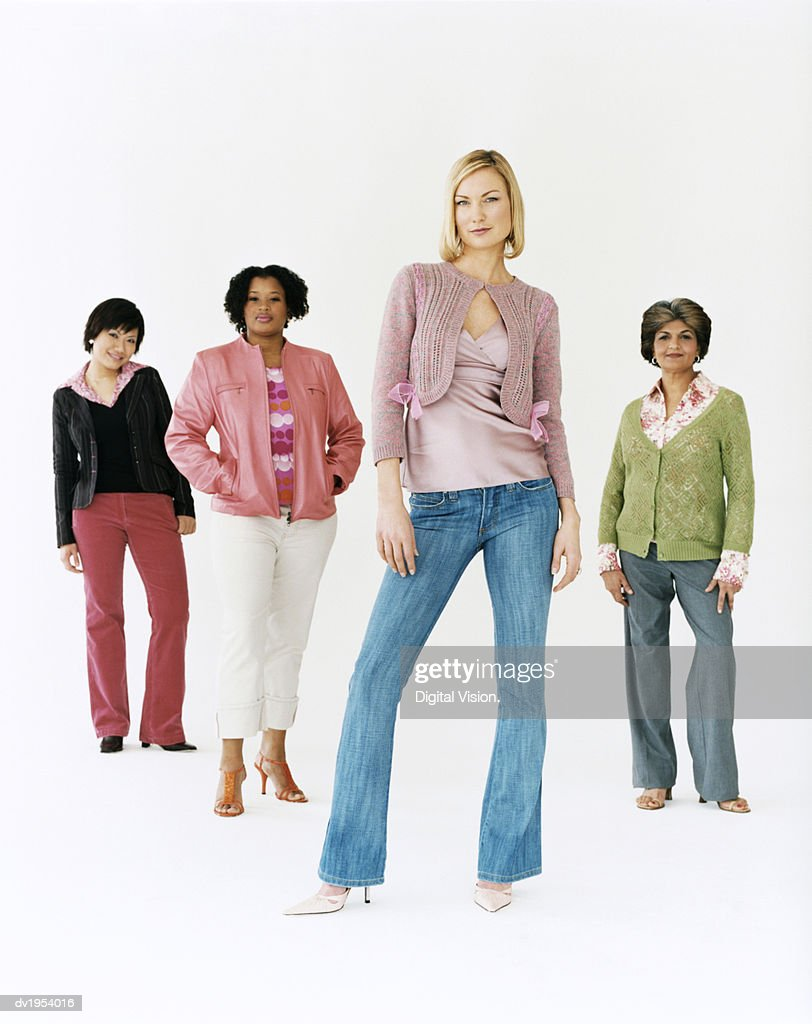 Studio Shot of a Mixed Age, Multiethnic Group of Women With Attitude, Thirty something Woman at the Front : Stock Photo