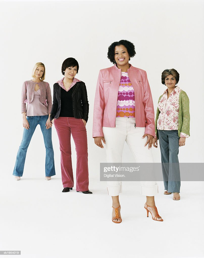 Studio Shot of a Mixed Age, Multiethnic Group of Women, Young Woman at the Front : Stock Photo