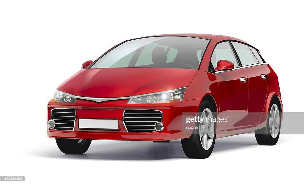 Studio shot of a red modern compact car. : Stock Photo