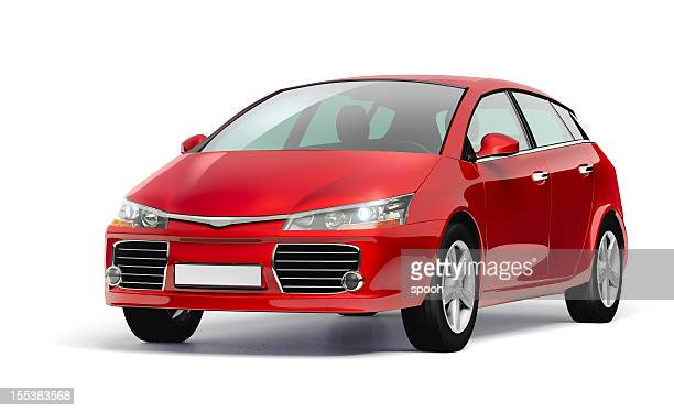 studio shot of a red modern compact car. - clip art stock pictures, royalty-free photos & images