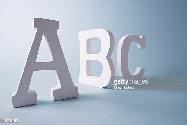 Studio shot of A,B,C letters