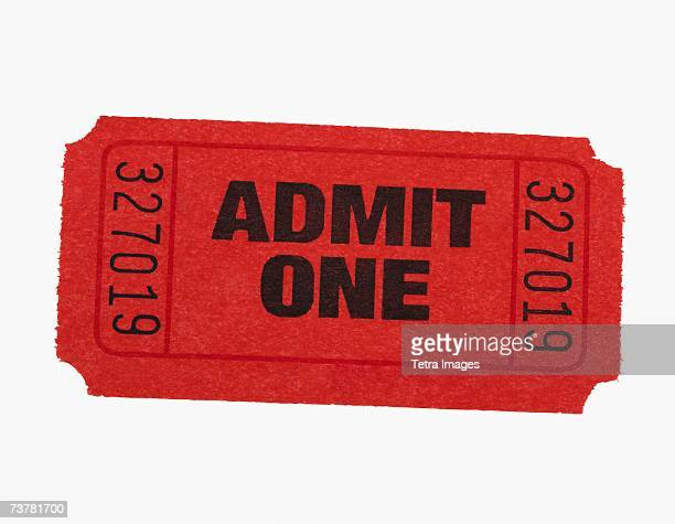 studio shot of admit one ticket - ticket stock pictures, royalty-free photos & images
