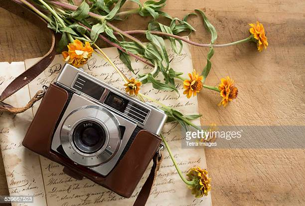Studio shot of antique camera with flowers