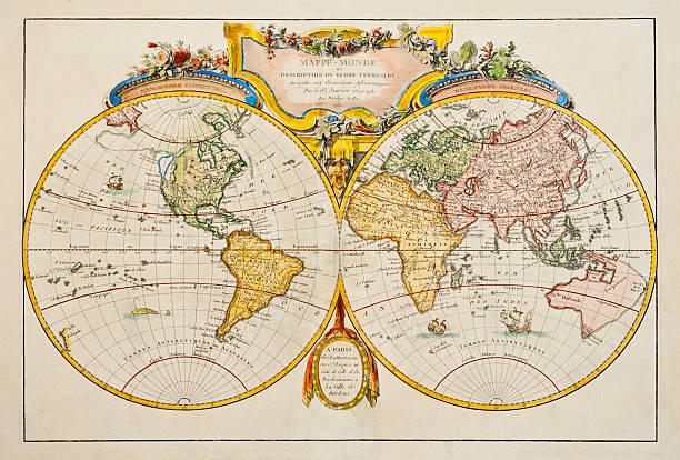 Studio Shot Of Antique World Map Wall Art