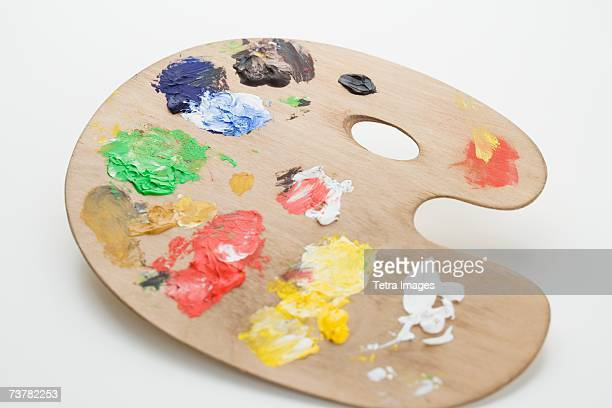 Studio shot of artist's palette with paint