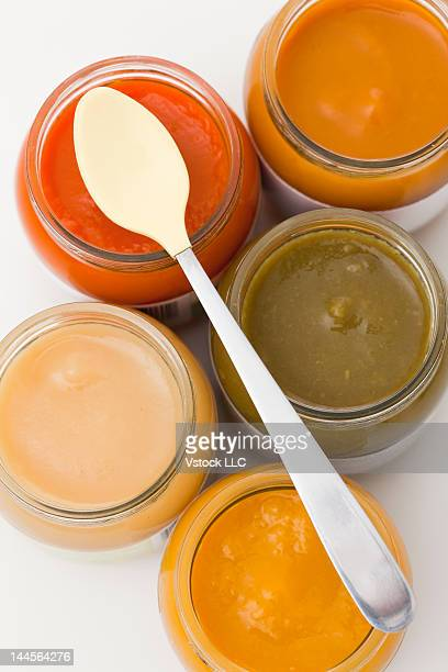 Studio shot of baby food in jars