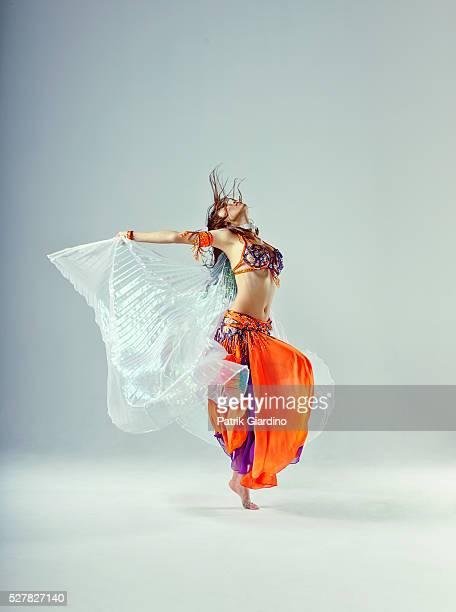 Studio shot of belly dancer