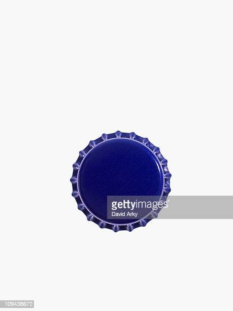 Studio shot of blue bottle cap