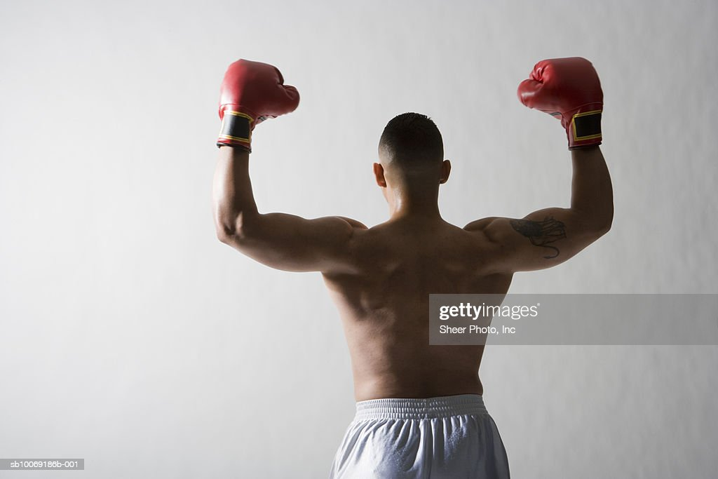 Studio shot of boxer with arms raised, rear view : Stockfoto