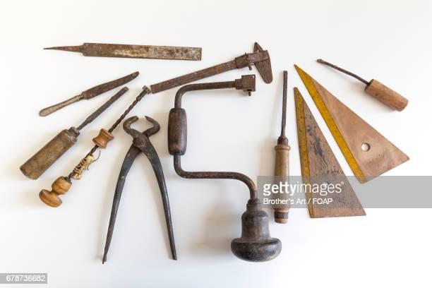 Studio shot of carpentry work tools