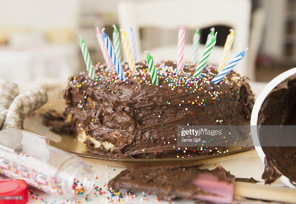 Studio Shot of chocolate birthday cake : Stock Photo