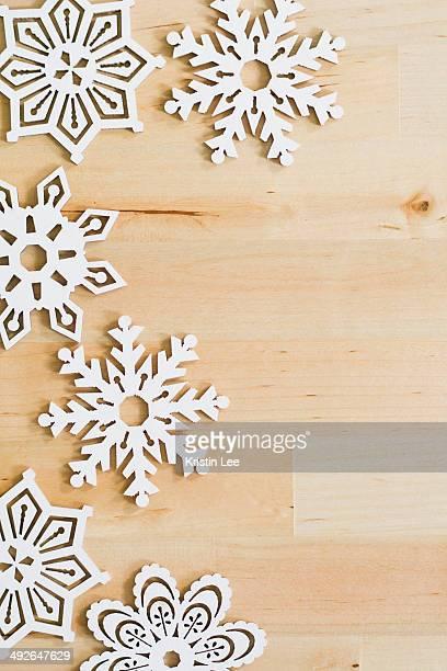 Studio shot of Christmas snowflakes