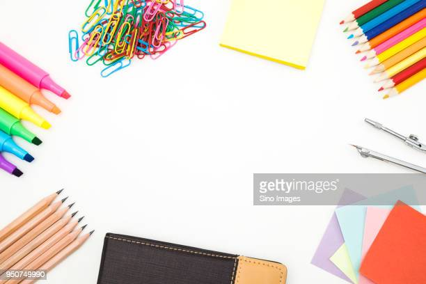 Studio shot of colorful office supplies