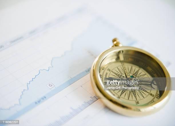 Studio shot of compass on graph