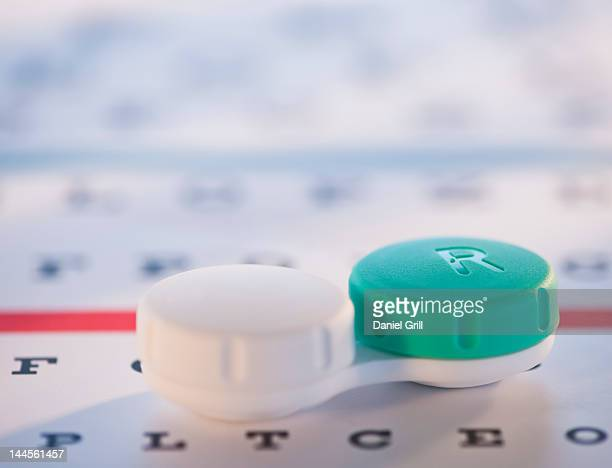 studio shot of contact lens case - contacts stock photos and pictures