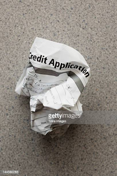 studio shot of crumpled document - credit score stock pictures, royalty-free photos & images