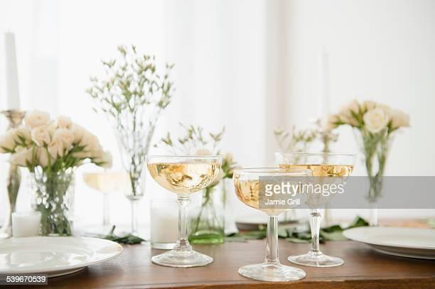Studio shot of drinks on table