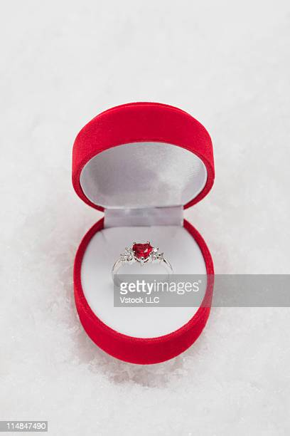 Studio shot of engagement ring in box