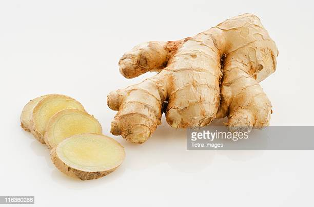 studio shot of fresh ginger - ginger stock photos and pictures