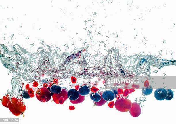 Studio shot of fruits falling into water