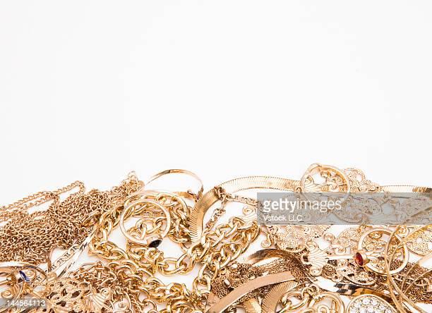 Studio shot of gold jewelry