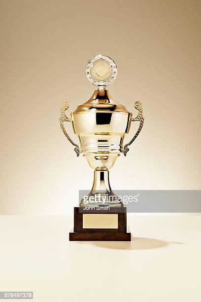 Studio shot of golden trophy