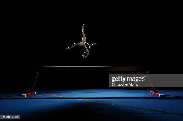 studio shot of gymnast - gymnastics stock pictures, royalty-free photos & images