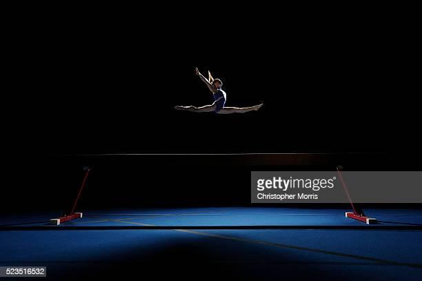 Studio shot of gymnast