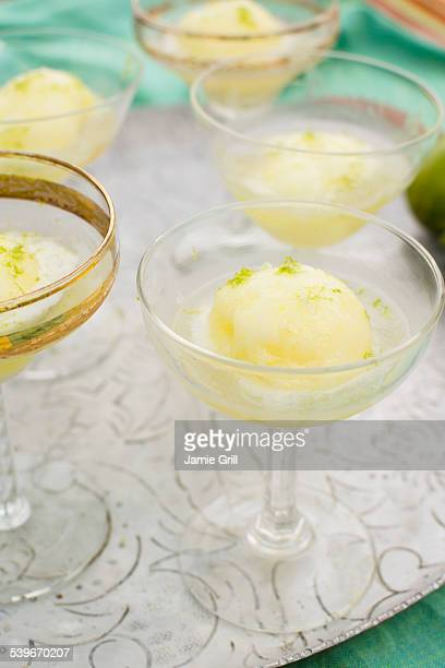 studio shot of ice cream desserts - sorbet stock pictures, royalty-free photos & images