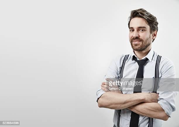 Studio shot of man wearing shirt and tie