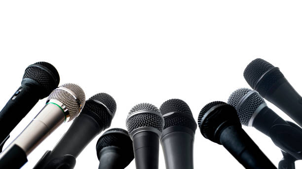Studio shot of microphones