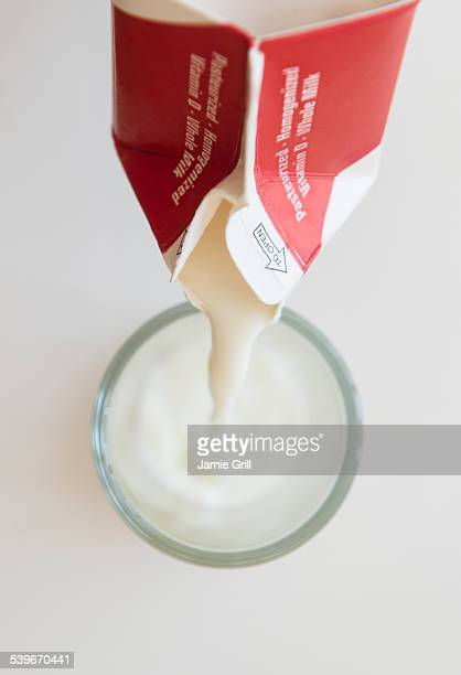 Studio shot of milk pouring into glass