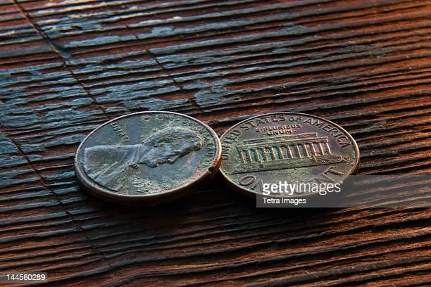 Studio shot of old coins
