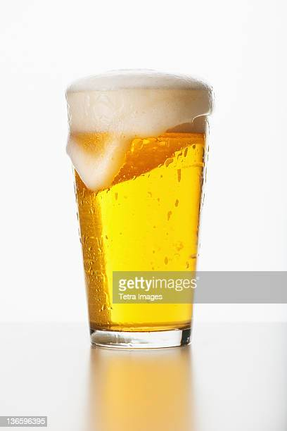 Studio shot of pale ale in glass