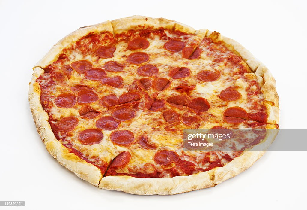 Studio shot of pepperoni pizza : Stock Photo
