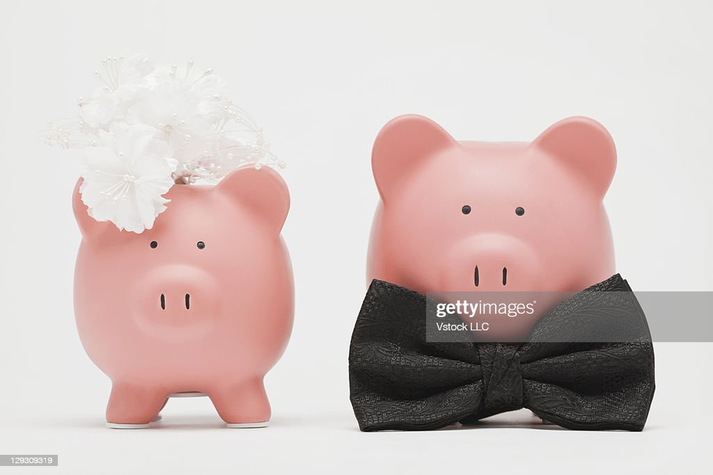 Studio shot of piggy banks dressed up as bride and groom : Stock Photo
