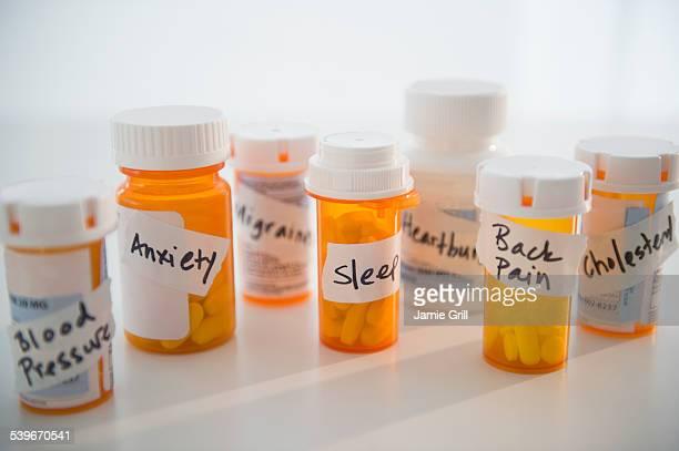 Studio shot of pill bottles