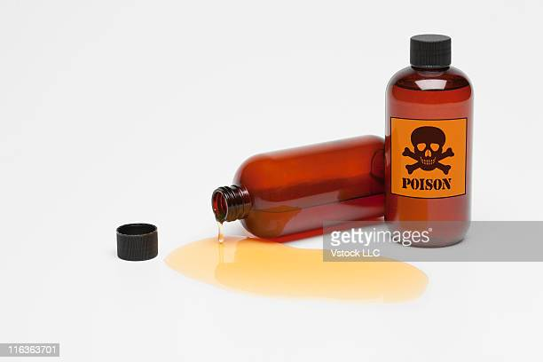 Studio shot of poison spilling from bottle