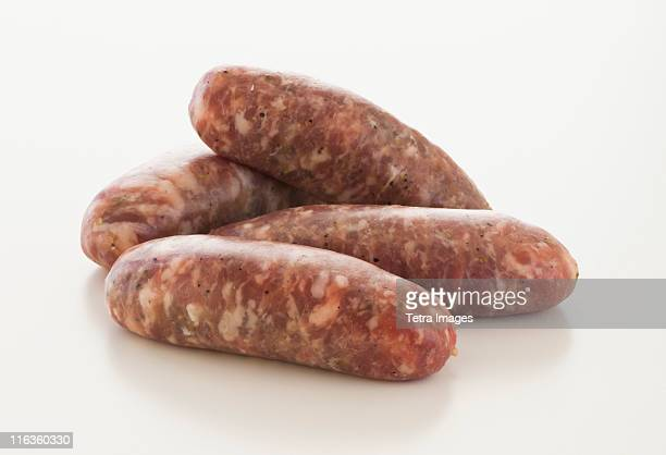 Studio shot of raw sausage
