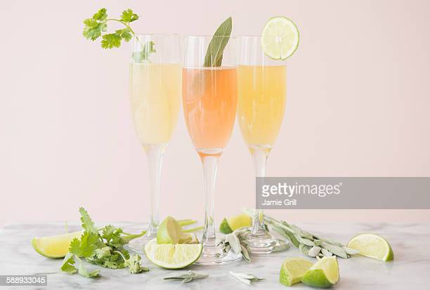 studio shot of refreshing cocktails - mimosa stock pictures, royalty-free photos & images