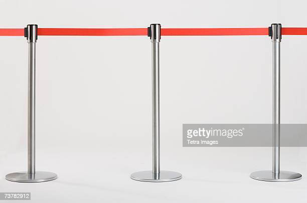 studio shot of retractable belt crowd control barriers - cordon boundary stock pictures, royalty-free photos & images