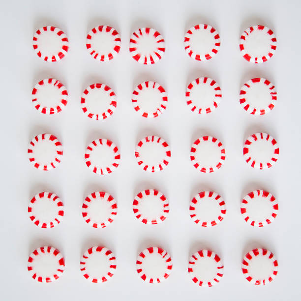 Studio Shot Of Rows Of Peppermint Candies Wall Art