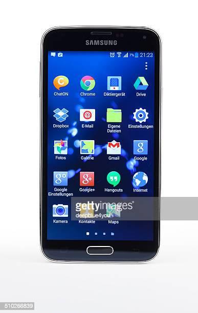 Studio shot of Samsung Galaxy S5 smartphone, isolated