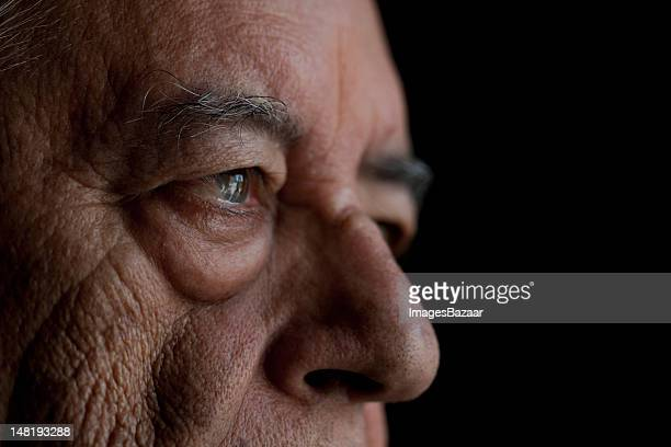 Studio shot of senior man, close-up