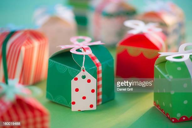Studio shot of small Christmas presents