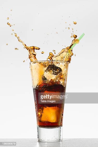 Studio shot of soda with splash