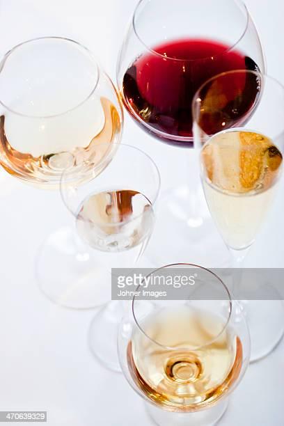Studio shot of various alcoholic beverages