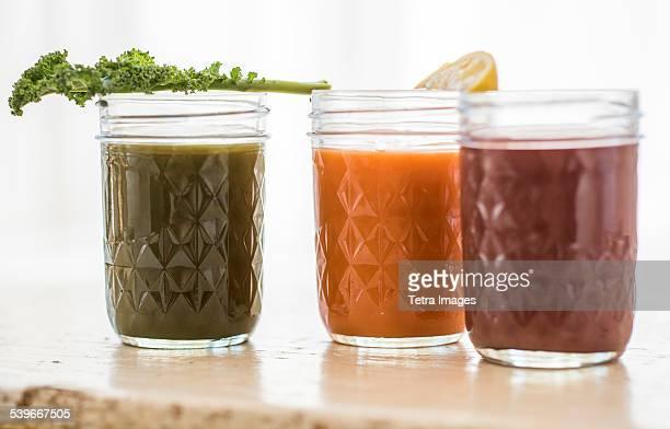 Studio shot of vegetable juices