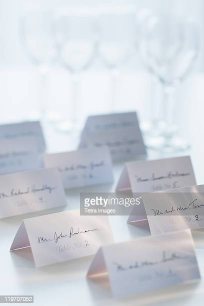 studio shot of white place cards - nameplate stock pictures, royalty-free photos & images
